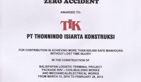 Certificate for Zero Accident